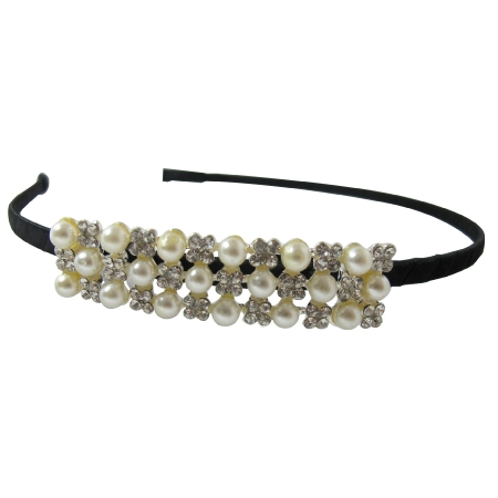 Cute Pageants Hairband Elegant Style with Pearls & Rhinestone