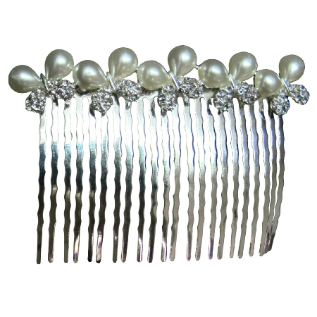 Gift Idea Hair Accessory Butterfly Bow Pearls Rhinestone Hair Comb