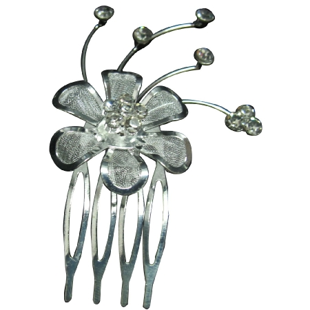 Silver Plated Net Flower Rhinestone Hair Tiara Comb