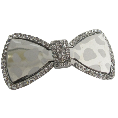 Shiny Glass Hair Bow Barrette W/ Sparkling Rhinestones Hair Clip