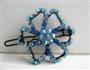 Aquamarine Flower Crystals Hair Barrette Pair Clip