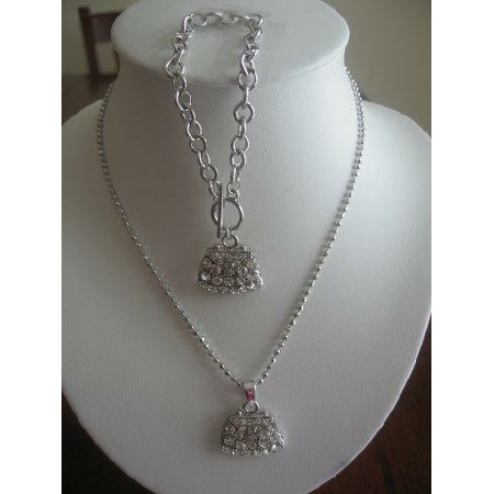 Simulated Cubic Zircon Diamond purse Necklace & Bracelet