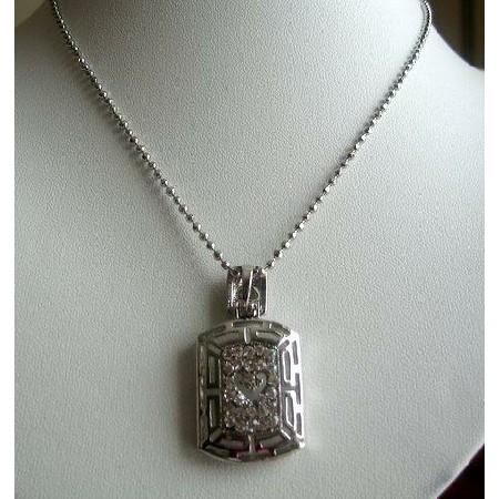 Simulated Cubic Zircon Diamond Pendant Necklace