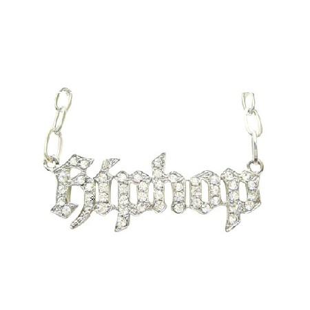 Simulated Platinum Necklace Designed w/ HipHop CZ stones Pendant