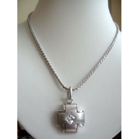 Simulated Platinum w/ small Diamond shape Cubic Zircon Stone Pendant