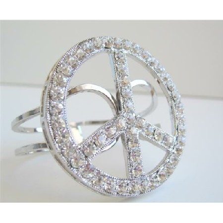 Peace Cuff Bracelet Sparkling Shimmering Bling Bling Cuff Bracelet