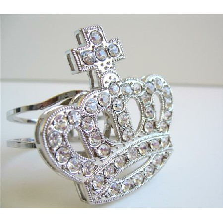 Captivating Silver Plated Sparkling Crown Cuff Bracelet w/ CZ Stones