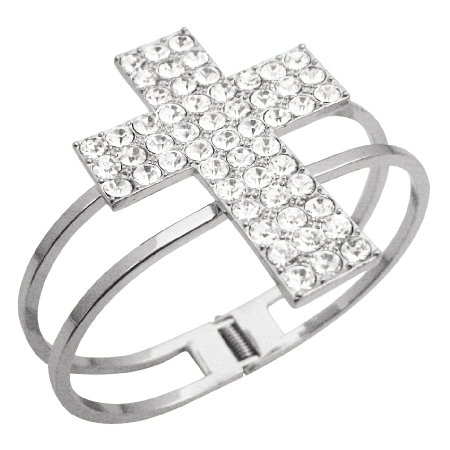 Hip Hop Shimmering Cross Cuff CZ Bracelet In Silver Simulated Rhodium
