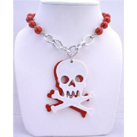 Red Pearls Long Necklace Skull Head Pendant Halloween Gift 28 inches