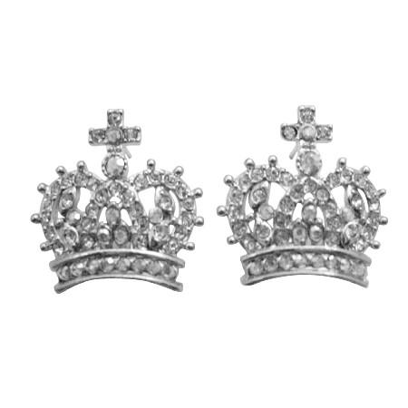 Crown Pierce Earrings Fully Embedded w/ Cubic Zircon Sparkling