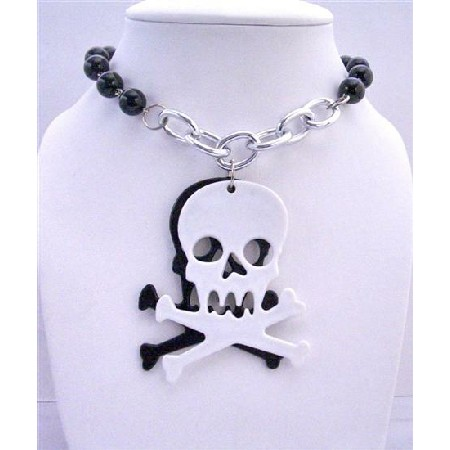 Hip Hop Halloween Pearls Necklace w/ Skull Head Pendant 30 inches Long