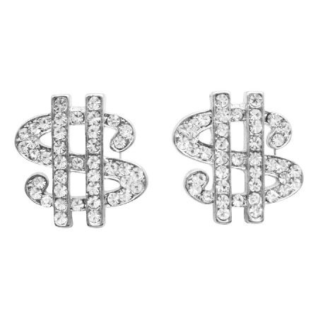 Hip Hop Shimmering Dollar Earrings In Simulated Silver w/ CZ Earrings