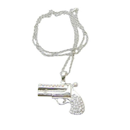 Simulated Cubic Zircon Diamond Gun Necklace