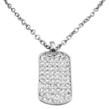 Dog Tag in Ice Shimmering all covered w/ CZ 28 inches chain