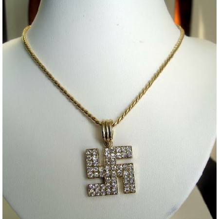 Gold Bling Bling Jewelry Swastick Pendant ICe Shimmering Pendant w/ CZ