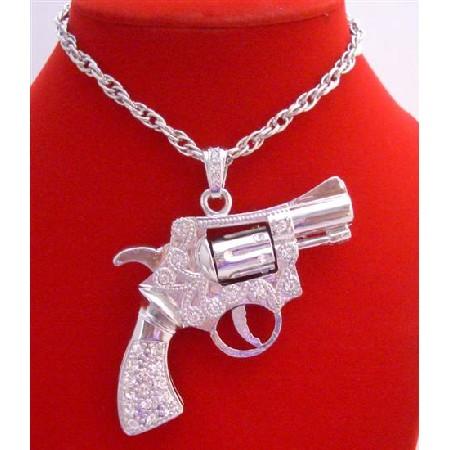 Barrel Spins Gun Pendant Men Hip Hop Jewelry Silver Pistol Bling Bling