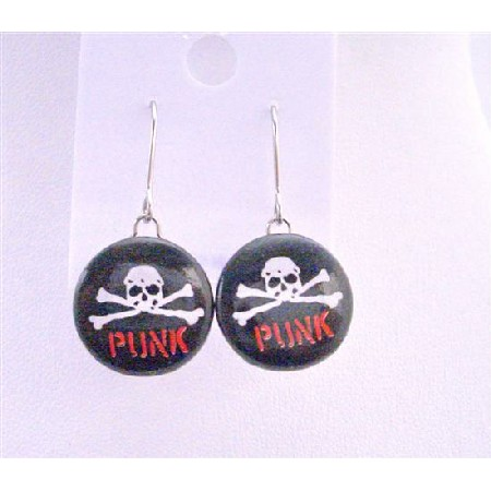 Smashing Skull Earrings w/ Word Punk