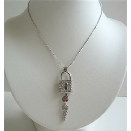 Hip Hop Shimmering Key Lock Pendant w/ CZ Bling Necklace