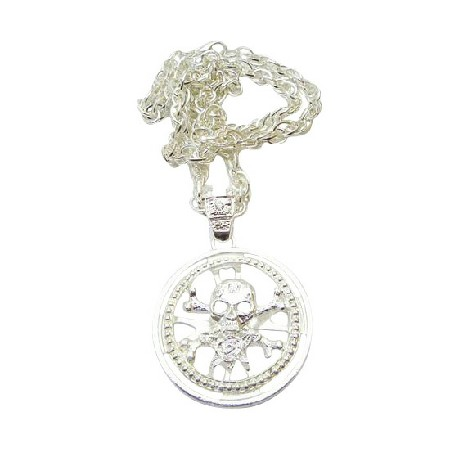Skull Head Spinning Pendant Bling Bling Skull Pendant Necklace