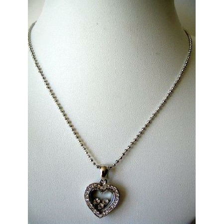 Silver CZ Heart Pendant Shimmering Necklace 18 inches