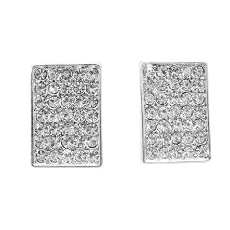 Shimmering Sparkling Hip Hop Earrings Dog Tag Earrings w/ CZ