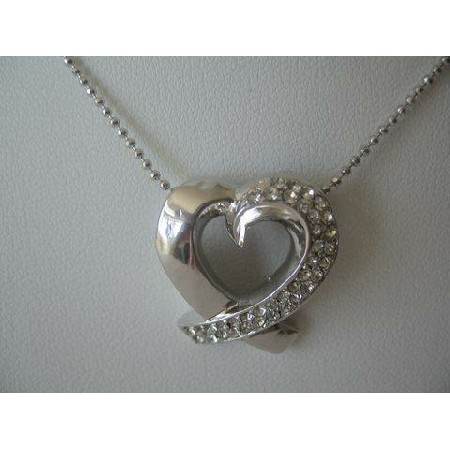 Diamante Necklace Silver CZ Heart Pendant Shimmering Choker 14 inches