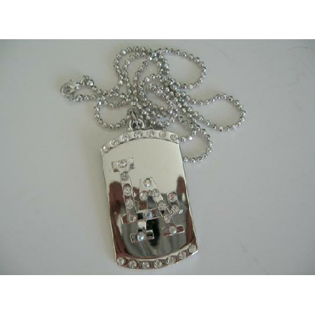 LA Bling Diamond Dog Tag Pendant 28 inches Long