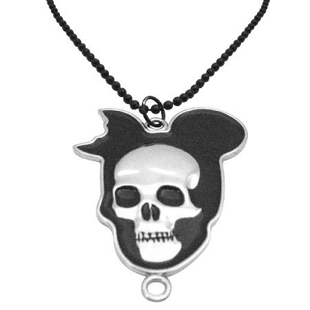 Halloween Skull Hip Hop Black Chained Necklace 30 Inches Long Necklace