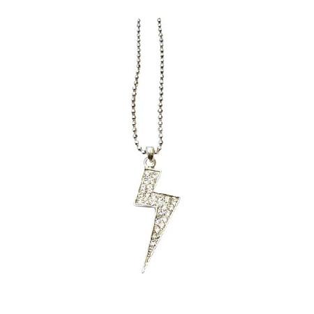 Cubic Zircon Lightning Pendant Necklace ICe Shimmering Choker