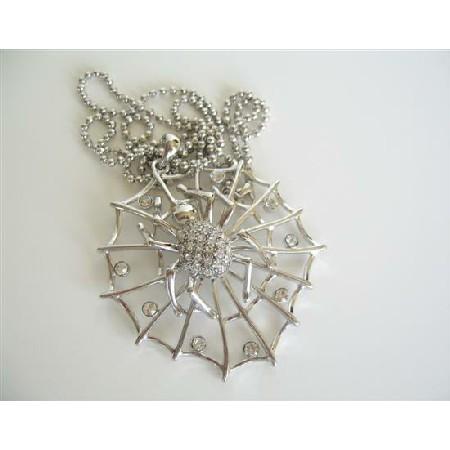 Cubic Zircon Spider Web Pendant NEcklace Hip Hop Jewelry