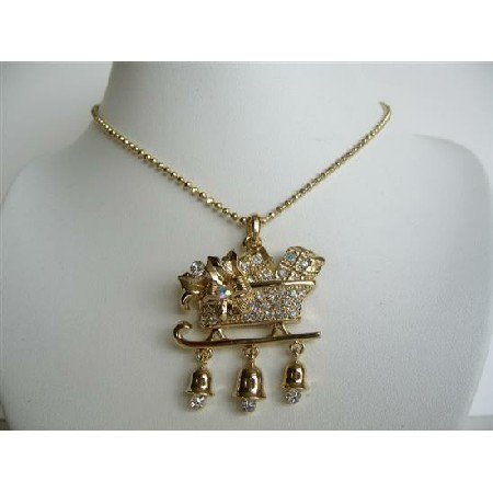 Gold Plated Christmas Pendant Necklace Prosperity Jewelry