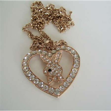 Big Heart Copper Bunny Necklace Embedded Cubic Zircon Hip Hop Necklace