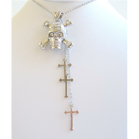 Cross Dangling Skull Head Pendant Fully Embedded Cubic Zircon
