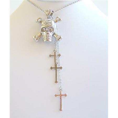 Cross Dangling Skull Head Pendant Fully Embedded Cubic Zircon