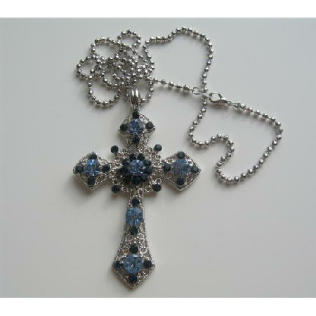 Saphire & Aquamarine Cross Pendant Embedded Rhinestones Shades of Blue