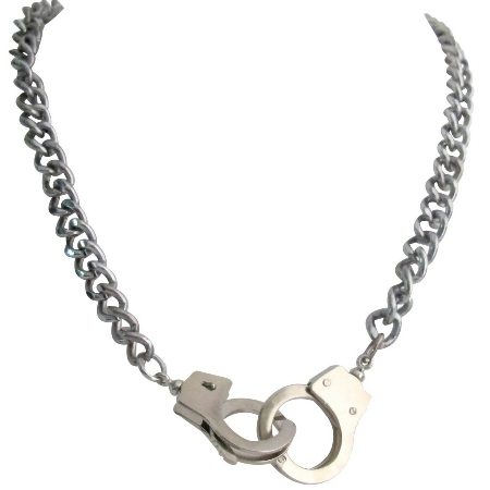 Silver Handcuff Openable Clasp Hand Cuff Thick Sexy Chain Necklace
