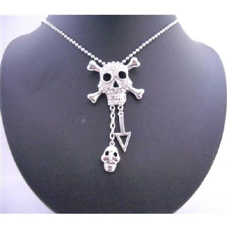 Skull Head Iced Bling Bling Pendant Necklace