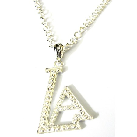 LA Pendant Fully Embedded Cubic Zircon Striking Pendant Long Necklace