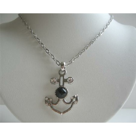 Hip Hop Anchor Pendant Necklace w/ Jet Crystal Embedded Accessory