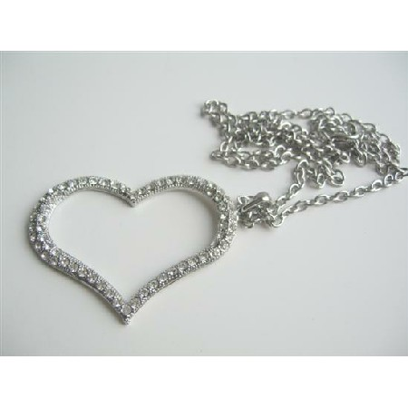 Cubic Zircon Heart Pendant Hip Hop Shimmering w/ CZ 24 inches Chain