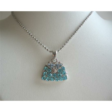 Crystals Purse Pendant Necklace