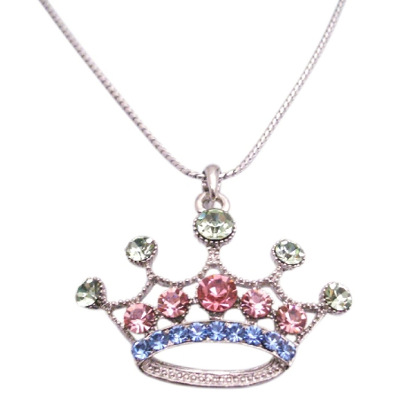 Multi Colored Cubic Crown Pendant Necklace w/ 24 Inches Long Necklace