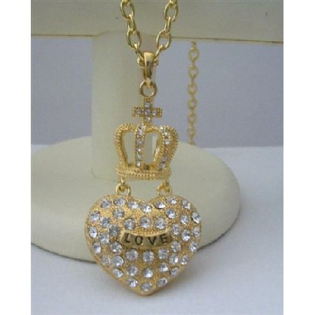 Hip Hop Gold Plated Crown 28 Inches Necklace & Pendant Crown BLING