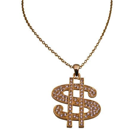 Gold Dollar Sign Pendant Necklace Bling Bling Pendant w/ Cubic Zircon