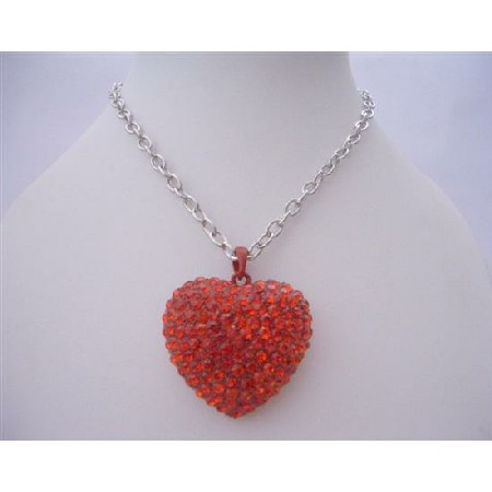 Red Heart Red Cubic Zircon Heart Pendant Hip Hop Shimmering w/ CZ