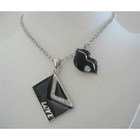 Valentine kiss Pendant w/ Love Note Envelope Necklace 24 inches Chain
