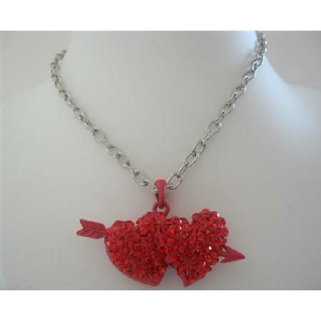 Double Heart w/ Arrow Pendant Necklace Red Cubic Zircon Hearts Pendant