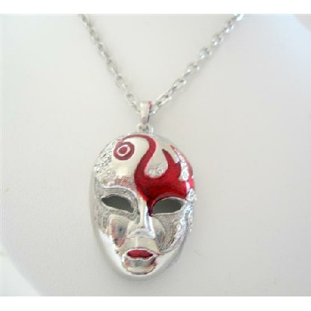Chunky Mask Enamel w/ Cubic Zircon Spread On Mask 24 Inches Necklace