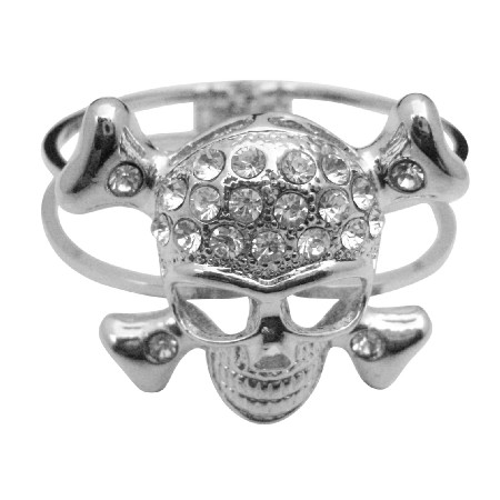 Skull Cuff Bracelet Simulated Diamond Skull Forehead Hip Hop Bracelet