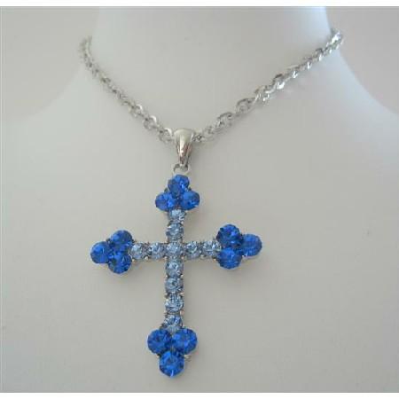 Cross Pendant Necklace Aquamarine Saphire Fully Embedded Rhinestones